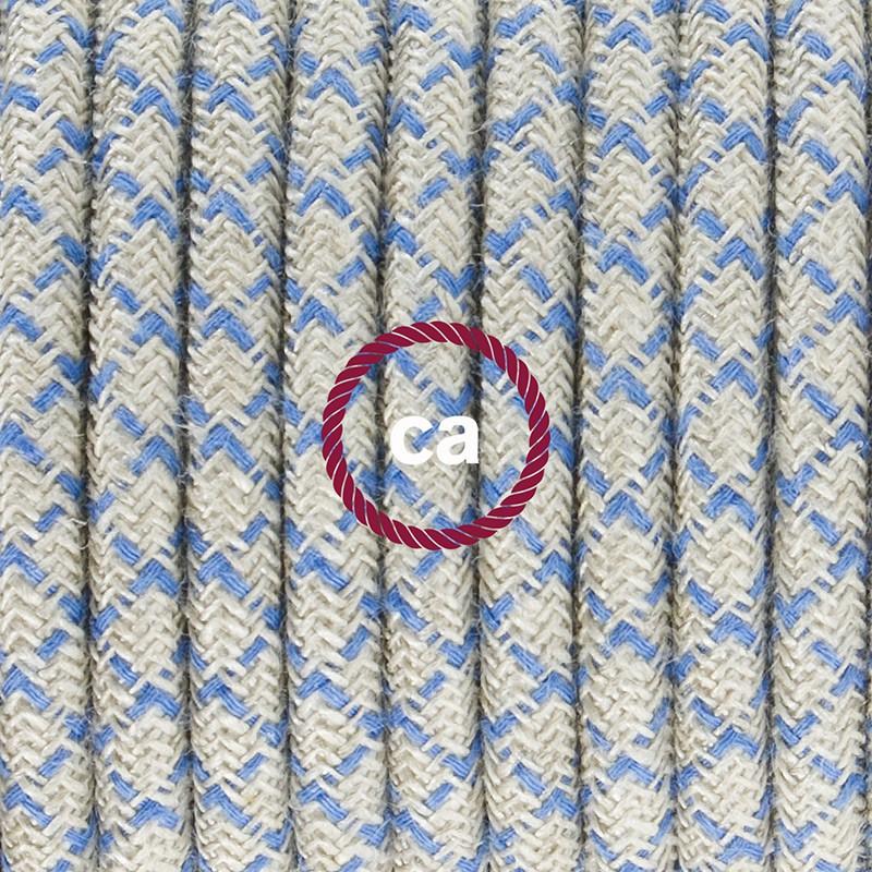 Καλωδίωση πορτατίφ με Υφασμάτινο Καλώδιο Lozenge μπεζ λινό και μπλε βαμβάκι RD65 - 1.80 m. Με ενδιάμεσο διακοπτάκι και φις.