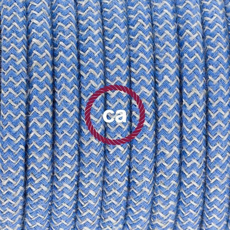 Καλωδίωση πορτατίφ με Υφασμάτινο Καλώδιο Ψαροκόκκαλο μπεζ λινό και μπλε βαμβάκι RD75 - 1.80 m. Με ενδιάμεσο διακοπτάκι και φις.