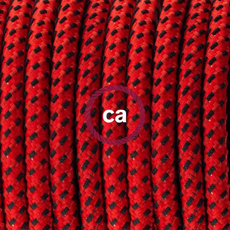 Καλωδίωση πορτατίφ με Υφασμάτινο Καλώδιο RT94 Κόκκινη Λάβα - 1.80 m. Με ενδιάμεσο διακοπτάκι και φις.