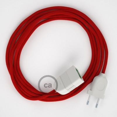 Προέκταση Διπολική με Κόκκινο της Φωτιάς Υφασμάτινο Καλώδιο από Βαμβάκι RC35. Made in Italy