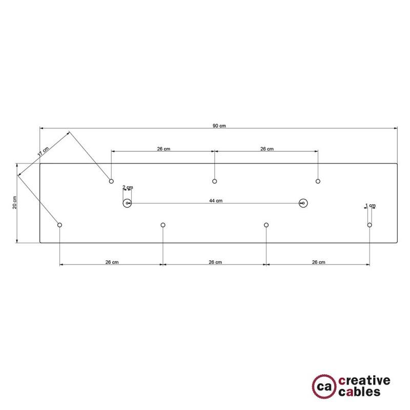 Ορθογώνια βάση Οροφής 90x20 cm XXL Ροζέτα με 7 τρύπες + Αξεσουάρ