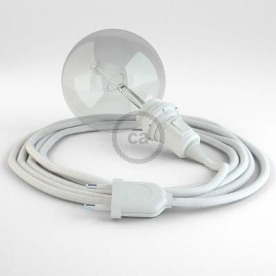Δημιουργήστε το δικό σας Φωτιστικό Snake για αμπαζούρ με καλώδιο RC01 Λευκό Βαμβάκι.