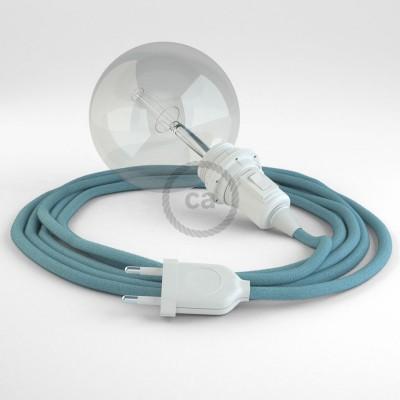 Δημιουργήστε το δικό σας Φωτιστικό Snake για αμπαζούρ με καλώδιο RC53 Γαλάζιο Βαμβάκι.