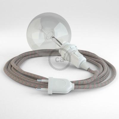 Δημιουργήστε το δικό σας Φωτιστικό Snake για αμπαζούρ με καλώδιο RD51 Μπεζ λινό και Ροζ βαμβάκι Stripes.