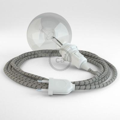 Δημιουργήστε το δικό σας Φωτιστικό Snake για αμπαζούρ με καλώδιο RD53 Μπεζ λινό και Καφέ βαμβάκι Stripes.