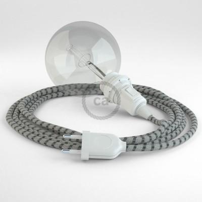 Δημιουργήστε το δικό σας Φωτιστικό Snake για αμπαζούρ με καλώδιο RD54 Μπεζ λινό και Ανθρακί βαμβάκι Stripes.