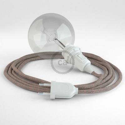 Δημιουργήστε το δικό σας Φωτιστικό Snake για αμπαζούρ με καλώδιο RD61 Μπεζ λινό και Ροζ βαμβάκι Lozenge.