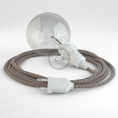 Δημιουργήστε το δικό σας Φωτιστικό Snake για αμπαζούρ με καλώδιο RD63 Μπεζ λινό και Καφέ βαμβάκι Lozenge.