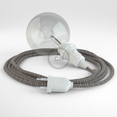 Δημιουργήστε το δικό σας Φωτιστικό Snake για αμπαζούρ με καλώδιο RD64 Μπεζ λινό και Ανθρακί βαμβάκι Lozenge.