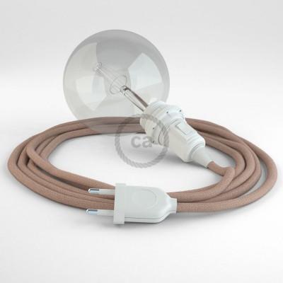 Δημιουργήστε το δικό σας Φωτιστικό Snake για αμπαζούρ με καλώδιο RD71 Μπεζ λινό και Ροζ βαμβάκι Ψαροκόκκαλο.