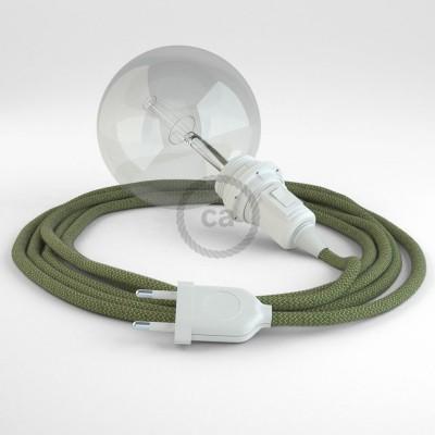 Δημιουργήστε το δικό σας Φωτιστικό Snake για αμπαζούρ με καλώδιο RD72 Μπεζ λινό και Πράσινο βαμβάκι Ψαροκόκκαλο.