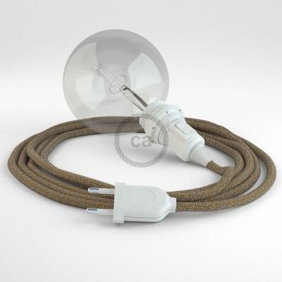 Δημιουργήστε το δικό σας Φωτιστικό Snake για αμπαζούρ με καλώδιο RS82 Γυαλιστερό Καφέ Μάλλινο και Μπεζ Λινό.
