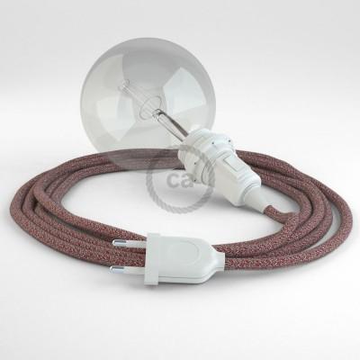 Δημιουργήστε το δικό σας Φωτιστικό Snake για αμπαζούρ με καλώδιο RS83 Γυαλιστερό Mπορντό Μάλλινο και Μπεζ Λινό.