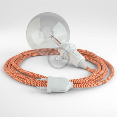 Δημιουργήστε το δικό σας Φωτιστικό Snake για αμπαζούρ με καλώδιο RZ15 Πορτοκαλί Ψαροκόκκαλο.