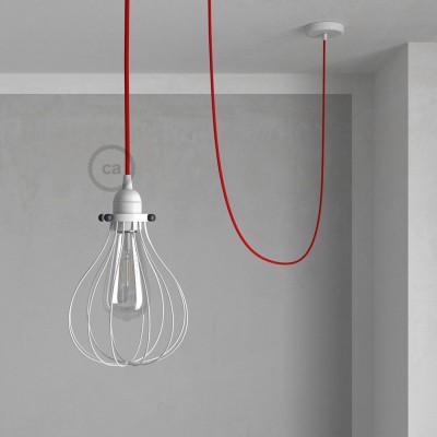 Κρεμαστό φωτιστικό με πλαίσιο Drop - Λευκό με RM09 Κόκκινο Υφασμάτινο Καλώδιο