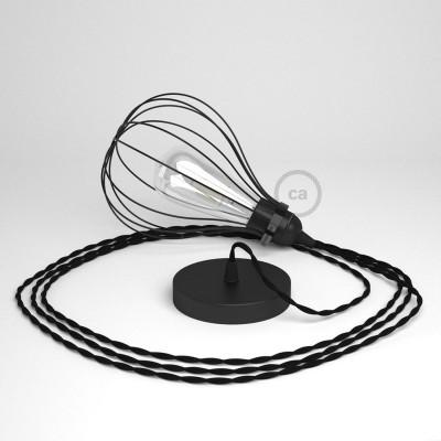 Κρεμαστό φωτιστικό με πλαίσιο Drop- Μαύρο με TM04 Μαύρο Υφασμάτινο Καλώδιο