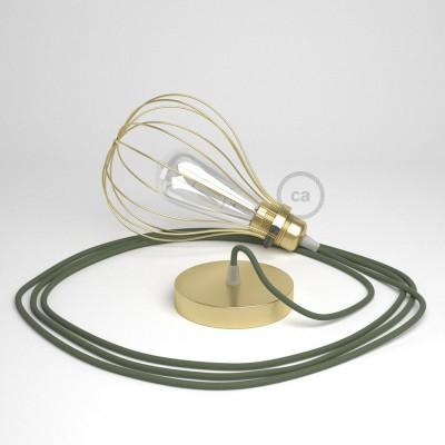 Κρεμαστό φωτιστικό με πλαίσιο Drop - χρυσό με RC63 Λαδί Υφασμάτινο Καλώδιο από βαμβάκι