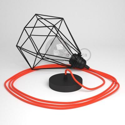Κρεμαστό Φωτιστικό Διαμάντι μαύρο με RF15 Υφασμάτινο καλώδιο Φωσφοριζέ Πορτοκαλί.