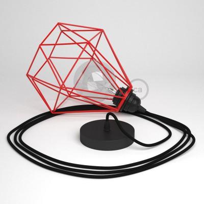 Κρεμαστό Φωτιστικό Διαμάντι Κόκκινο με RΜ04 Υφασμάτινο καλώδιο Μαύρο.