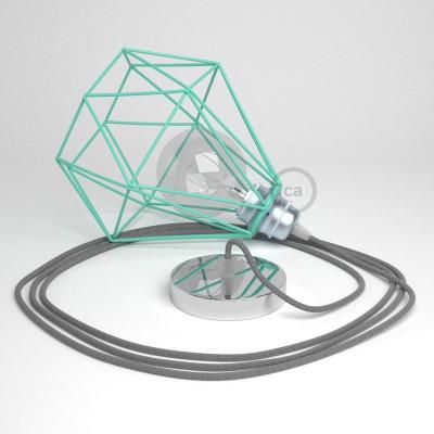 Κρεμαστό Φωτιστικό Διαμάντι Τιρκουάζ με RΝ02 Υφασμάτινο καλώδιο Γκρι Λινό.