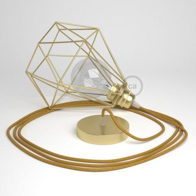 Κρεμαστό Φωτιστικό Διαμάντι Χρυσό με RL05 Υφασμάτινο Γυαλιστερό καλώδιο Χρυσό.