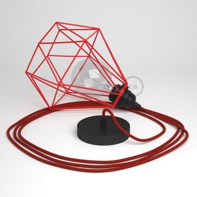 Κρεμαστό Φωτιστικό Διαμάντι Κόκκινο με RΤ94 Υφασμάτινο καλώδιο Κόκκινο Μαύρο.
