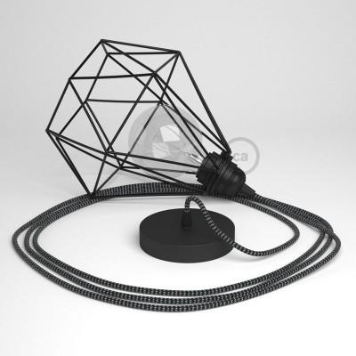 Κρεμαστό Φωτιστικό Διαμάντι Μαύρο με RΤ41 Υφασμάτινο καλώδιο Stars Λευκό Μαύρο.
