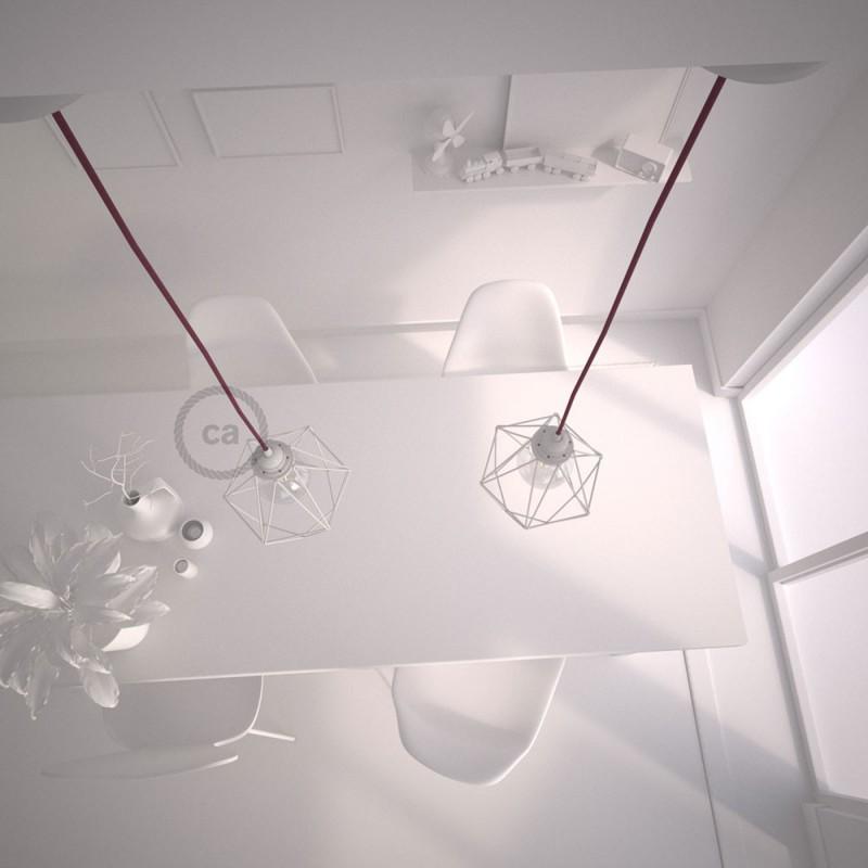 Κρεμαστό Φωτιστικό Διαμάντι Λευκό με RC32 Yφασμάτινο καλώδιο Βαμβάκι Δαμασκηνί.