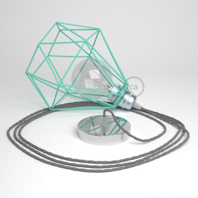 Κρεμαστό Φωτιστικό Διαμάντι Τιρκουάζ με ΤΝ02 Στριφτό Υφασμάτινο καλώδιο Γκρι Λινό.