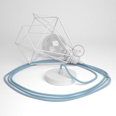Κρεμαστό Φωτιστικό Διαμάντι - Λευκό με RD75 Ψαροκόκκαλο Γαλάζιο και φυσικό Λινό