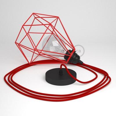 Κρεμαστό Φωτιστικό Διαμάντι - Κόκκινο με RM09 Κόκκινο Υφασμάτινο καλώδιο