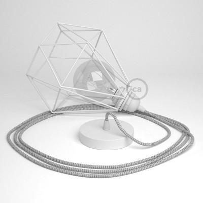 Κρεμαστό Φωτιστικό Διαμάντι - Λευκό με RT14 Stracciatella Υφασμάτινο καλώδιο