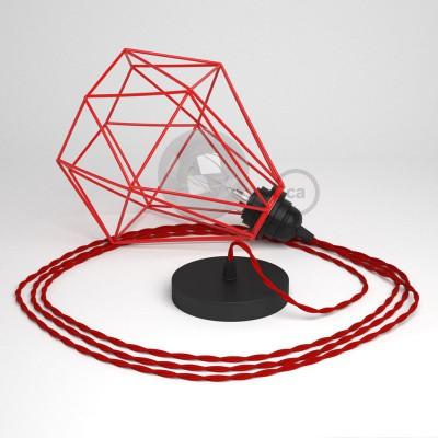 Κρεμαστό Φωτιστικό Διαμάντι - Κόκκινο με TM09 Κόκκινο Υφασμάτινο καλώδιο