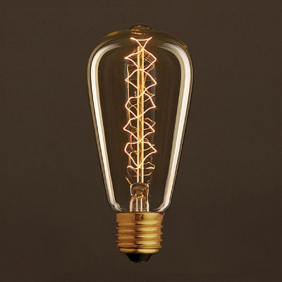 Διακοσμητικός Λαμπτήρας Edison, Αχλάδι ST64 30W E27 Σπιράλ νήμα Dimmable 2000K