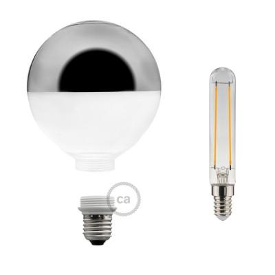 Αποσπώμενος Διακοσμητικός Λαμπτήρας LED E27 5W με Ασημί ανεστραμένο καθρέφτη 2700K Dimmable
