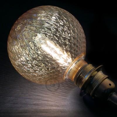 Αποσπώμενος Διακοσμητικός Λαμπτήρας LED E27 5W με μελί κρακελέ γυαλί 2700K Dimmable