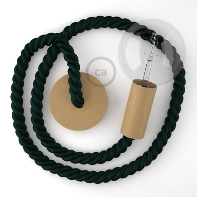 Ξύλινο Κρεμαστό Φωτιστικό με ναυτικό σχοινί 2XL 24mm σε Σκούρο Πράσινο Ύφασμα, Made in Italy.