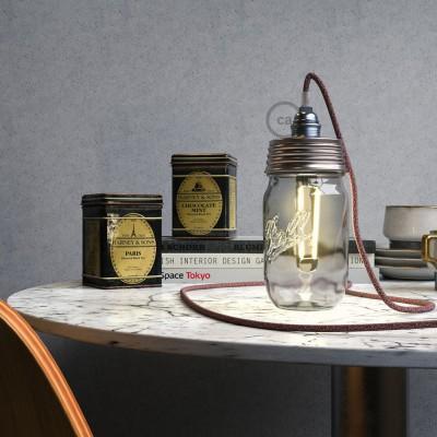 Σετ για φωτιστικό βάζο κρεμαστό. Καπάκι χρωμίου με ντουί Ε14 και διάφανο στήριγμα για τοποθέτηση σε γυάλινο βάζο