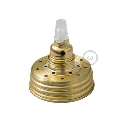 Σετ για φωτιστικό βάζο κρεμαστό. Καπάκι χρυσό με ντουί Ε14 και διάφανο στήριγμα για τοποθέτηση σε γυάλινο βάζο