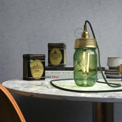 Σετ για φωτιστικό βάζο κρεμαστό. Καπάκι χρυσό με ντουί Ε14 και πλακέ χρυσό στήριγμα για τοποθέτηση σε γυάλινο βάζο