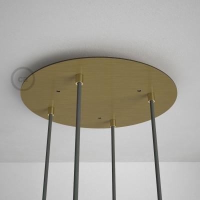 Στρογγυλή Ροζέτα Μπρονζέ XXL 35 cm με 4 τρύπες και εξαρτήματα