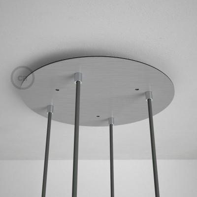 Στρογγυλή Ροζέτα Νίκελ ΜΑΤ XXL 35 cm με 4 τρύπες και εξαρτήματα