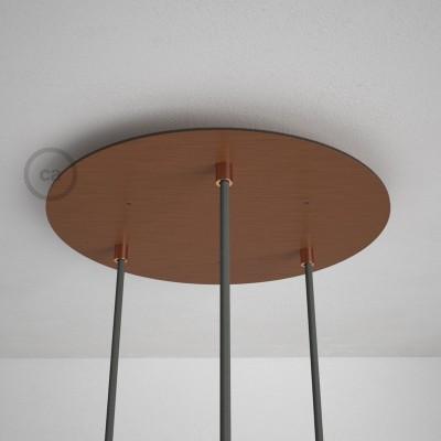 Στρογγυλή Ροζέτα Χάλκινο ΜΑΤ XXL 35 cm με 3 τρύπες και εξαρτήματα