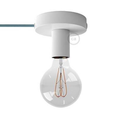 Μεταλλικό Φωτιστικό Spostaluce Λευκό, με υφασμάτινο καλώδιο και ροζέτα με τρύπες στο πλάι