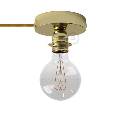 Μεταλλικό Φωτιστικό Spostaluce Χρυσό, με ντουί Ε27 με ροδέλες, υφασμάτινο καλώδιο και ροζέτα με τρύπες στο πλάι