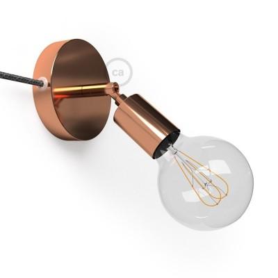 Μεταλλικό Φωτιστικό Spostaluce Κινητό 90° Χάλκινο, με υφασμάτινο καλώδιο και ροζέτα με τρύπες στο πλάι