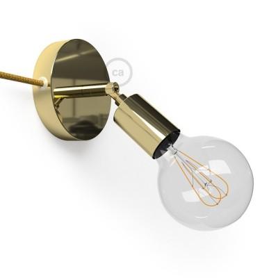 Μεταλλικό Φωτιστικό Spostaluce Κινητό 90° Χρυσό, με υφασμάτινο καλώδιο και ροζέτα με τρύπες στο πλάι