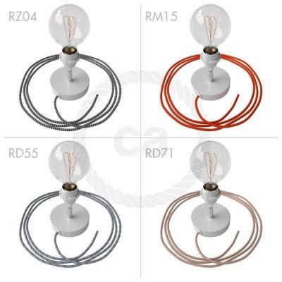 Μεταλλικό Φωτιστικό Spostaluce Κινητό 90° Λευκό, με ντουί Ε27 με ροδέλες, υφασμάτινο καλώδιο και ροζέτα με τρύπες στο πλάι