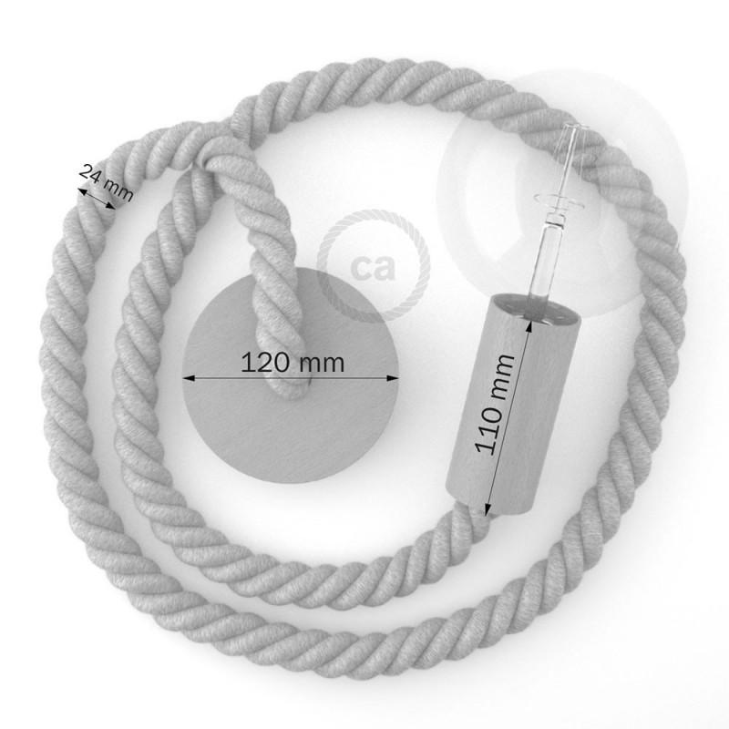 Ξύλινο Κρεμαστό Φωτιστικό με ναυτικό σχοινί 2XL 24mm με ύφασμα Orleans, Made in Italy.