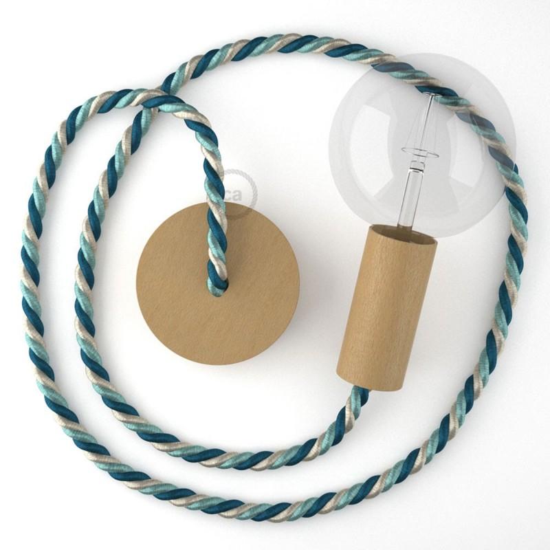 Ξύλινο Κρεμαστό Φωτιστικό με ναυτικό σχοινί XL 16mm με ύφασμα Bernadotte, Made in Italy.